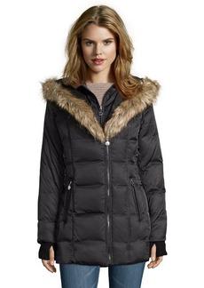 Betsey Johnson black faux fur trimmed hood corset detail jacket