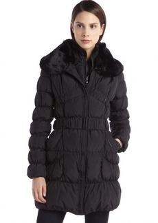 Betsey Johnson black quilted down faux fur lined belted coat