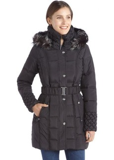 Betsey Johnson black quilted down filled faux fur hooded zip and snap front coat