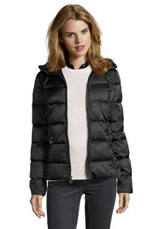 Betsey Johnson black quilted faux fur trim hooded jacket