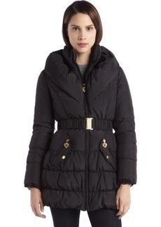 Betsey Johnson black quilted pillow collar belted down jacket