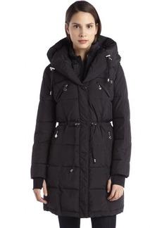 Betsey Johnson black quilted pillow collar elastic waist puffer jacket