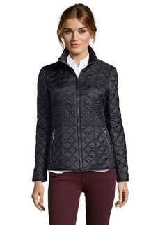 Betsey Johnson black quilted woven zip front jacket