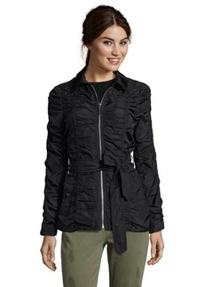 Betsey Johnson black ruched detail zip front belted jacket