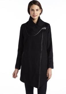 Betsey Johnson black wool asymmetrical closure heart lock oversized collar coat