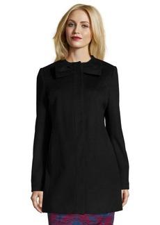 Betsey Johnson black wool snap front bow collar coat