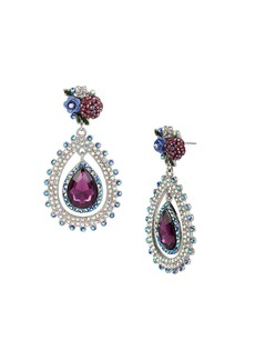 BETSEY JOHNSON Blue Pave Teardrop Orbital Earrings