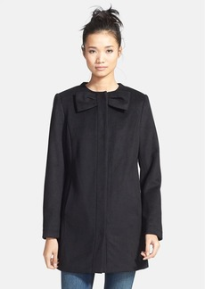 Betsey Johnson Bow Detail Wool Blend Coat