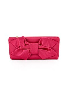 Betsey Johnson Bow-Detailed Satin Evening Clutch Bag, Pink