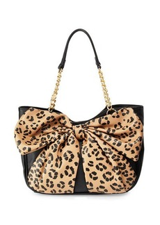 Betsey Johnson Bow Tails Leopard-Print Bow Satchel Bag