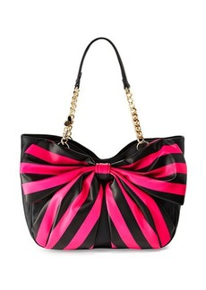 Betsey Johnson Bow Tails Striped-Bow Satchel Bag