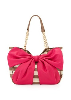 Betsey Johnson Bow Tails Striped Bow Satchel Bag