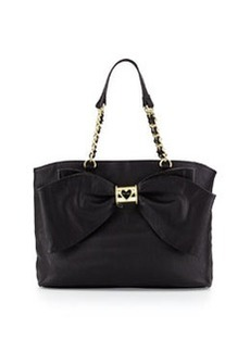 Betsey Johnson Bow Tie Faux-Leather Tote, Black