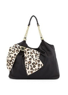 Betsey Johnson Bow Tie Faux-Leather Tote, Black/Leopard