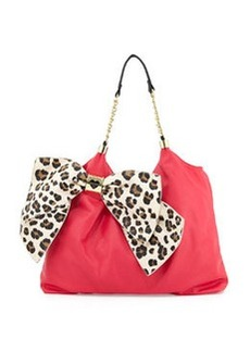Betsey Johnson Bow Tie Faux-Leather Tote, Pink/Leopard