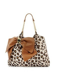 Betsey Johnson Bow Tie Leopard-Print Faux-Leather Tote, Brown