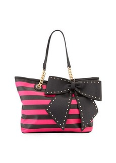 Betsey Johnson Bowlette Striped Bow Tote Bag