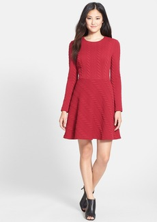Betsey Johnson Cable Textured Fit & Flare Dress