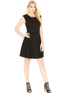 Betsey Johnson Cap-Sleeve Embellished Dress
