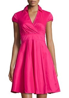 Betsey Johnson Cap-Sleeve Fit-and-Flare Shirtdress, Hot Pink