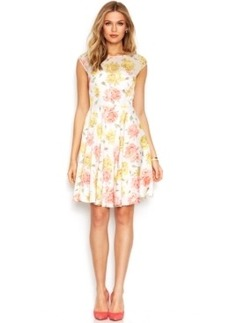 Betsey Johnson Cap-Sleeve Floral-Print Dress