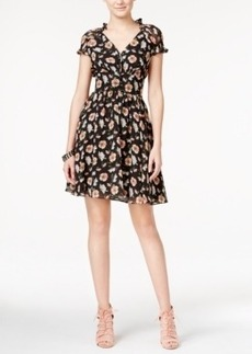 Betsey Johnson Cap-Sleeve Floral-Print Fit & Flare Dress