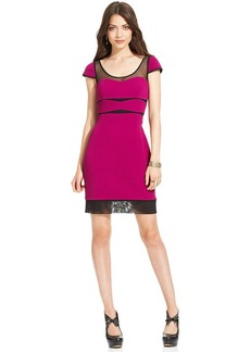 Betsey Johnson Cap-Sleeve Illusion Cutout Sheath