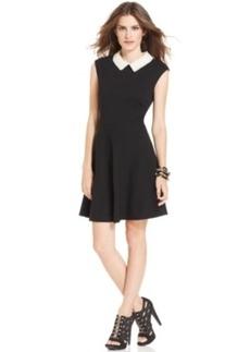 Betsey Johnson Cap-Sleeve Pearl-Collar Dress