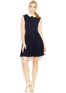Betsey Johnson Cap-Sleeve Pearl-Collar Dress