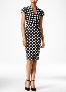Betsey Johnson Cap-Sleeve Polka-Dot Sheath Dress