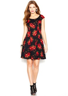 Betsey Johnson Cap-Sleeve Rose-Print Dress