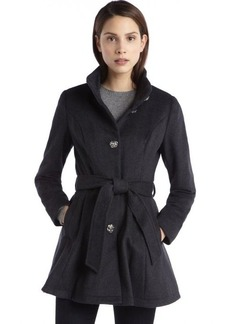 Betsey Johnson charcoal wool blend rose button belted coat