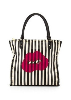 Betsey Johnson Clear To Me Striped Pout Tote Bag, Cream/Black