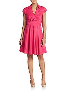 Betsey Johnson Collared Cap-Sleeve Dress