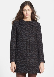 Betsey Johnson Collarless Leopard Print Wool Blend Coat (Online Only)