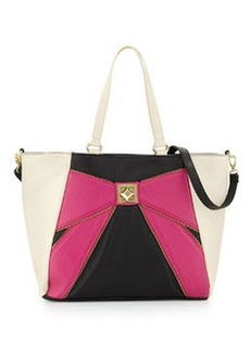 Betsey Johnson Colorblock Bow Tote Bag, Pink