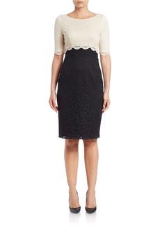 BETSEY JOHNSON Colorblocked Lace Sheath Dress