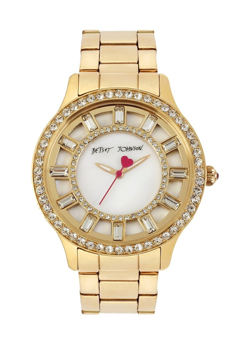 Betsey Johnson Crystal Accent Bracelet Watch, 40mm