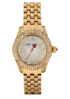 Betsey Johnson Crystal Bezel Bracelet Watch, 30mm