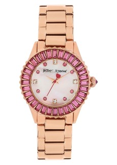 Betsey Johnson Crystal Bezel Bracelet Watch, 36mm