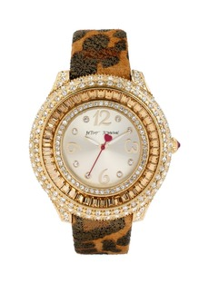 Betsey Johnson Crystal Bezel Leather Strap Watch, 42mm