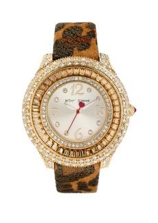 Betsey Johnson Crystal Bezel Leather Strap Watch, 42mm
