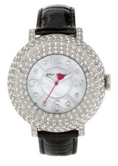 Betsey Johnson Crystal Bezel Leather Strap Watch, 44mm