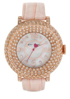 Betsey Johnson Crystal Bezel Leather Strap Watch, 44mm