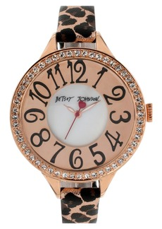 Betsey Johnson Crystal Bezel Leather Strap Watch, 47mm