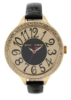 Betsey Johnson Crystal Bezel Leather Strap Watch, 47mm
