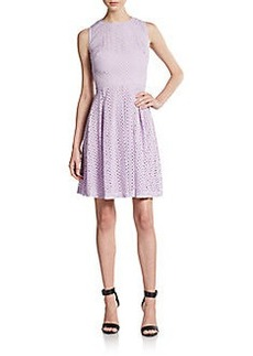 Betsey Johnson Cutout-Back Cotton Eyelet Fit-&-Flare Dress