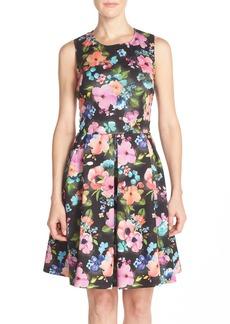 Betsey Johnson Cutout Back Floral Scuba Fit & Flare Dress