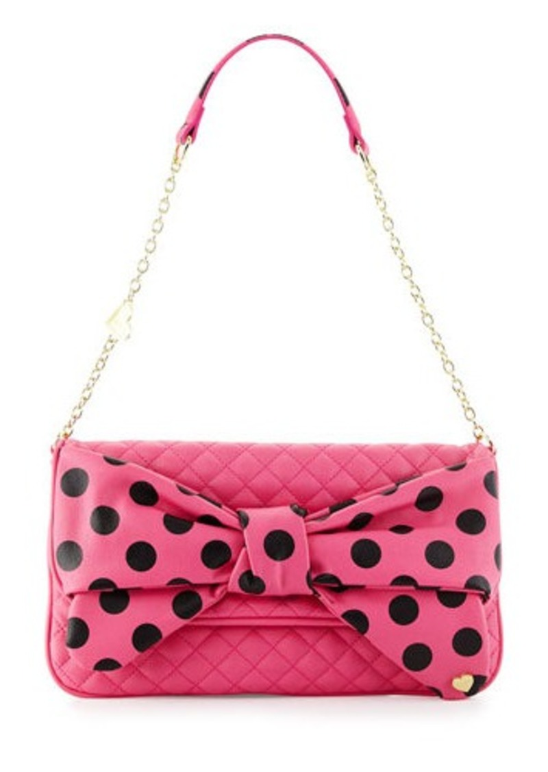 betsey johnson dots enough bow quilted shoulder bag