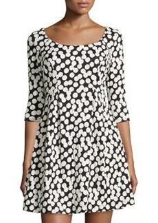 Betsey Johnson Dotted Scoop-Neck Dress, Black/Ivory